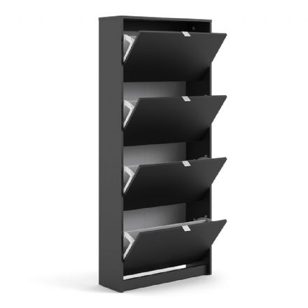 Shoes Shoe cabinet w. 4 tilting doors and 2 layers in Matt Black